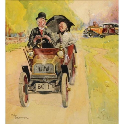 686 - <p>��WILLIAM ROGER BENNER (1884-1964) GOING FOR A DRIVE  signed, watercolour, 26 x 24cm</p><p></p>...