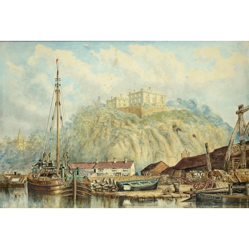 687 - <p>THOMAS COOPER MOORE (1827-1901 NOTTINGHAM CASTLE  AND BARGES ON THE RIVER LEEN   signed, watercol...