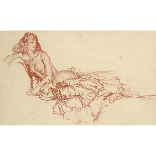 690 - <p>��SIR WILLIAM RUSSELL FLINT, RA, PRWS, RSW (1880-1969) RECLINING NUDE  signed, red chalk, 20.5 x ...