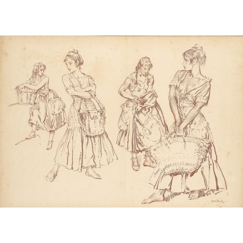691 - <p>��SIR WILLIAM RUSSELL FLINT, RA, PRWS, RSW (1880-1969) FOUR STUDIES   signed, red chalk, 37.5 x 5...