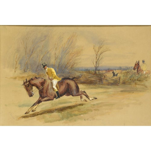693 - <p>F OLDNALL, 19TH CENTURY A GOOD GALLOP  signed and inscribed, watercolour, 28.5 x 42cm</p><p></p>...