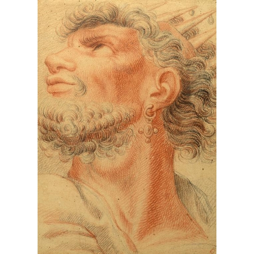 694 - <p>NORTHERN EUROPEAN SCHOOL THE HEAD OF A KING  red and black chalk, 28 x 20cm</p><p></p>...