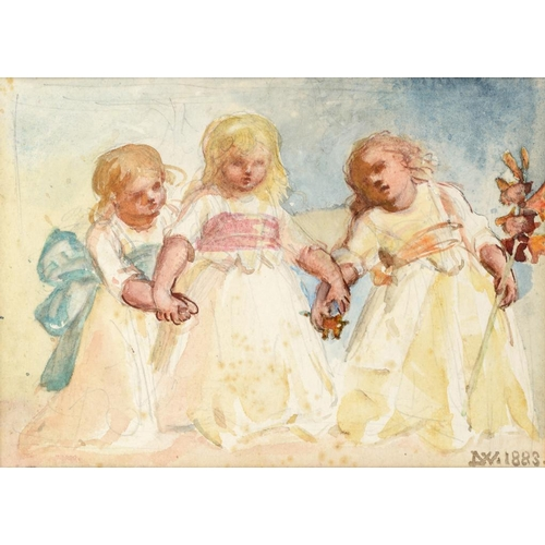 695 - <p>LOUISA ANNE, MARCHIONESS OF WATERFORD (1818-1891) STUDY OF THREE YOUNG GIRLS  signed with initial...