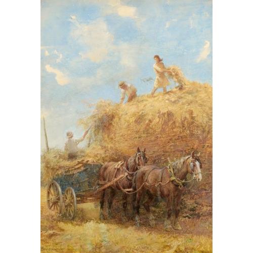 699 - <p>ARTHUR HOPKINS, RWS (1848-1930) HAYMAKING signed, watercolour, 74 x 52cm</p><p>The artist was a b...