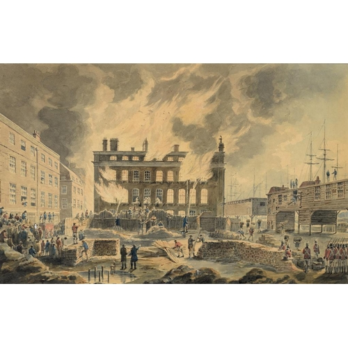 700 - <p>ENGLISH SCHOOL, EARLY 19TH CENTURY THE BURNING OF THE CUSTOM HOUSE, FEBRUARY 12TH AND 13TH, 1814 ...