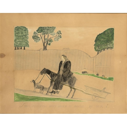 702 - <p>ENGLISH NAIVE ARTIST THE ECCENTRIC BILLY HICKS OF SHERE  signed with initials WP and inscribed, w...