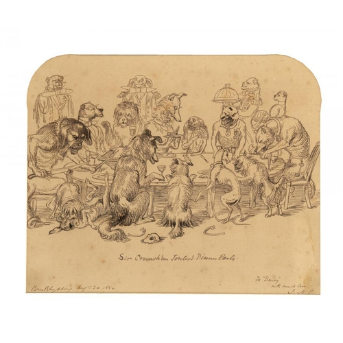 705 - <p>SIR JOSEPH NOEL PATON, RSA (1821-1901) SIR CRUNSH'EM JOWLER'S DINNER PARTY signed with initials, ...