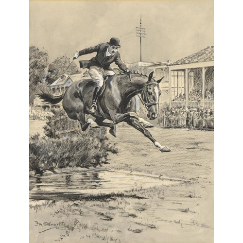 707 - <p>FRANK ALGERNON  STEWART (1877-1945) THE WATER JUMP RICHMOND HORSE SHOW signed, watercolour and bo...