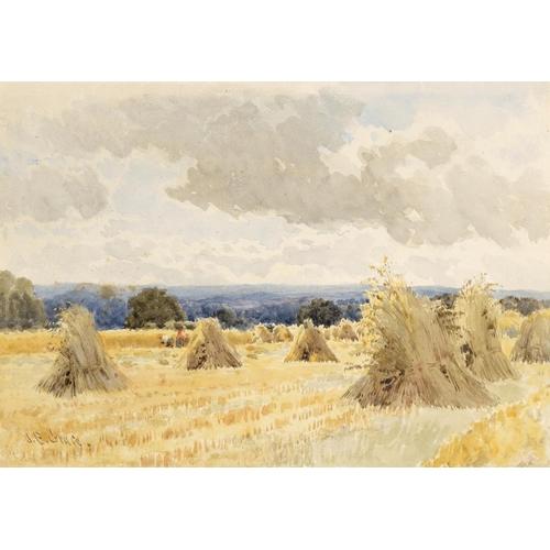 710 - <p>JAMES EDWARD RACE, RBA (1851-1908) CORN STOOKS  signed, watercolour, 25 x 36cm and Modern British...