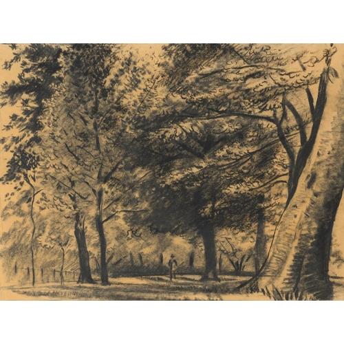 711 - <p>��EDMUND BLAMPIED, RBA, RE (1886-1966) A MAN WALKING NEAR TREES  charcoal on paper, 34 x 45cm</p>...