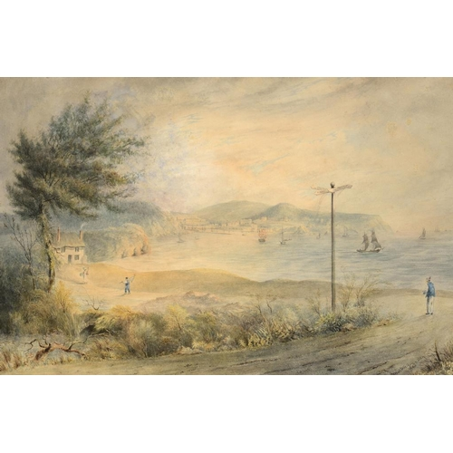 719 - <p>JOHN MARTEN THE YOUNGER, ( FL 1820S/30S)  VIEW OF TORQUAY  signed and dated 1828, the signpost in...