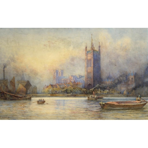 721 - <p>THOMAS HALE-SANDERS (FL 1880-1906) THE PALACE OF WESTMINSTER FROM THE THAMES signed and dated 189...