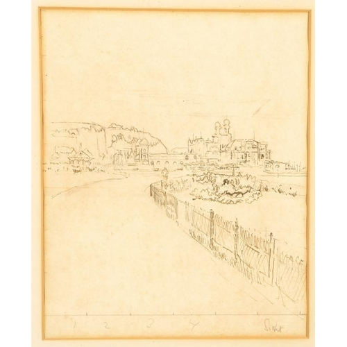 722 - <p>WALTER RICHARD SICKERT, ARA, RE (1860-1942) THE CASINO DIEPPE signed, pencil with pen and ink, 30...