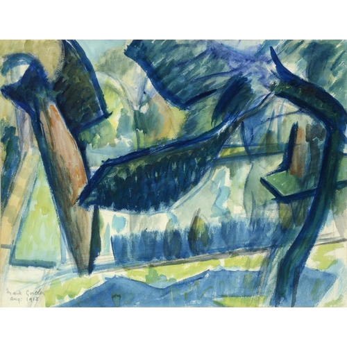 723 - <p>MARK GERTLER (1892-1939) THE POND GARSINGTON  signed and dated Aug:1918  watercolour, 33 x 43cm</...