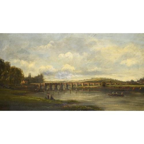 724 - <p>SYLVANUS REDGATE (1827-1907) OLD TRENT BRIDGE NOTTINGHAM  signed, oil on canvas, 64 x 116cm</p><p...