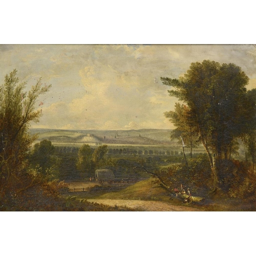725 - <p>ATTRIBUTED TO JOHN RAWSON WALKER (1796-1873) VIEW OF NOTTINGHAM FROM WILFORD HILL  traces of sign...