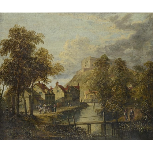 726 - <p>ATTRIBUTED TO SYLVANUS REDGATE (1827-1907) NOTTINGHAM CASTLE  AND THE RIVER LEAN  oil on canvas, ...
