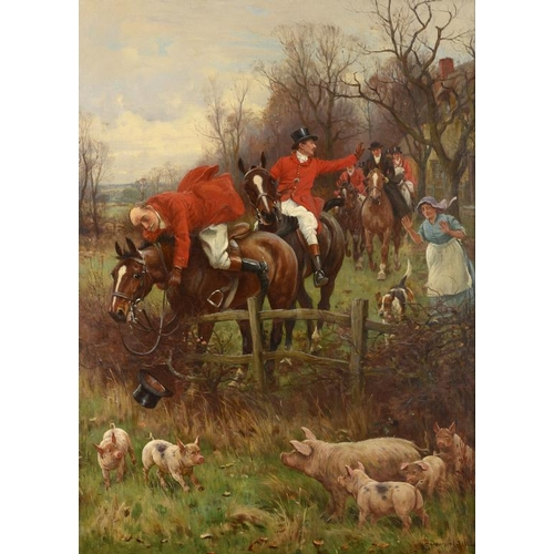 727 - <p>��JOHN SANDERSON SANDERSON-WELLS, RI (1872-1955) A HUNTING INCIDENT  signed, oil on canvas, 74 x ...
