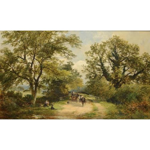 728 - <p>DAVID PAYNE (1843-1894) RUSTICS AND A HORSE DRAWN WAGON BY A BRIDGE  oil on canvas, 59 x 99cm</p>...