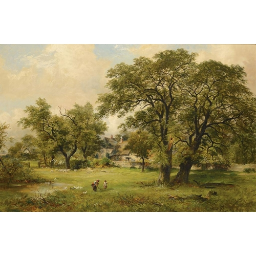 729 - <p>DAVID PAYNE (1843-1894) THE DUCK POND  signed, signed again and dated 1877 verso, oil on canvas, ...