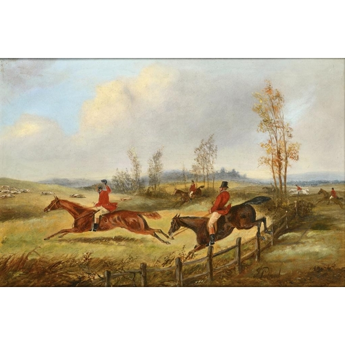 731 - <p>ENGLISH SCHOOL, 19TH CENTURY A FOX HUNT  bears signature, oil on board, 30 x 45cm</p><p></p>...