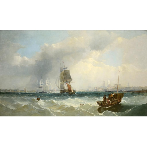 736 - <p>ENGLISH MARINE SCHOOL, 19TH CENTURY SHIPPING OFF THE COAST  oil on canvas, 89 x 150cm</p><p></p>...