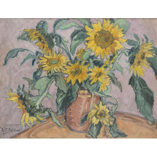 806 - <p>��FREDERICK CYRIL BELL (EXH 1938) SUNFLOWERS  signed, oil on board, 52 x 68cm and seven others by...