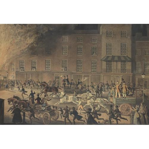 824 - <p>AFTER JAMES POLLARD (1792-1867)LONDON FIRE ENGINES THE NOBLE PROTECTORS OF LIVES AND LIBERTY aqua...