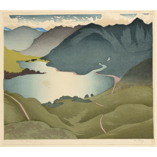 827 - <p>��IAN CHEYNE (1895-1955) LOCH DUICH  colour woodcut, signed by the artist, inscribed with the tit...