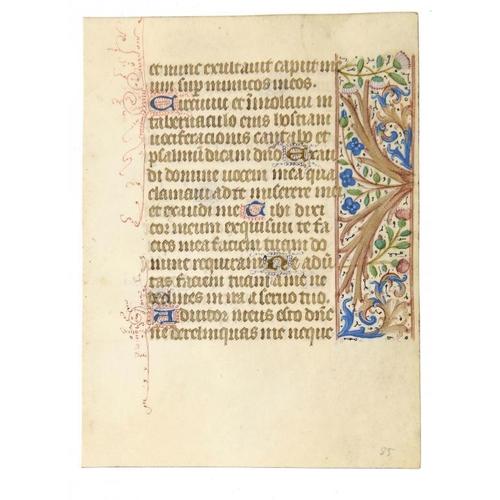 837 - <p>AN ILLUMINATED LEAF FROM A BOOK OF HOURS, PARIS, C1490 vellum, 15 x 11cm</p>...