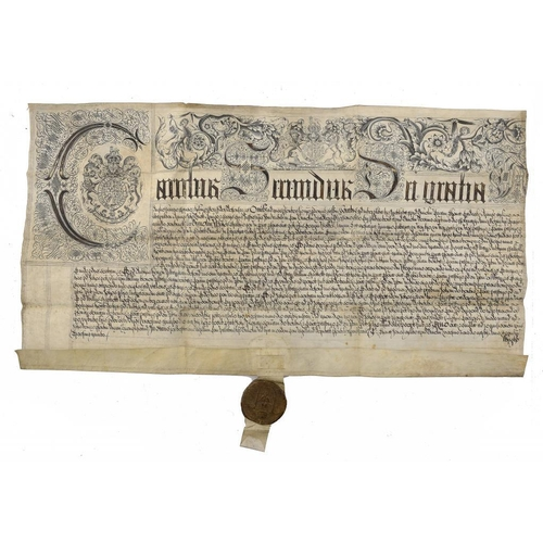842 - <p>COURT OF COMMON PLEAS CHARLES II EXEMPLIFICATION OF A RECOVERY, 1682   John Brown and George Rowe...