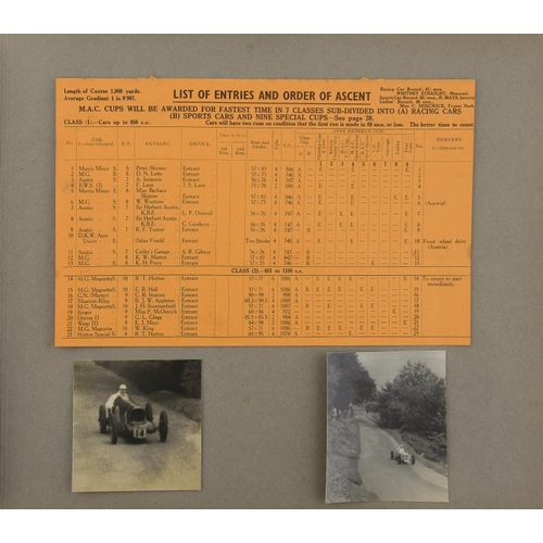 857 - <p>1930S BRITISH MOTOR SPORT.  AN ALBUM OF PHOTOGRAPHS OF SPEED TRIALS AND RACES AT DONINGTON PARK A...