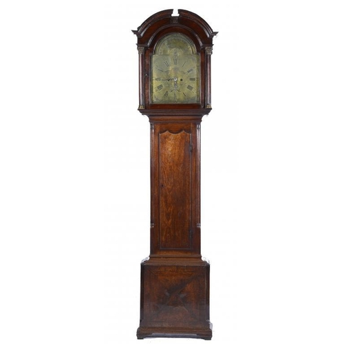 936 - <p>A MAHOGANY EIGHT DAY LONGCASE CLOCK, 18TH/EARLY 19TH C  the engraved brass dial with calendar wor...