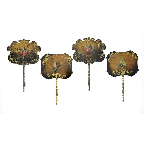 958 - <p>TWO PAIRS OF VICTORIAN PAPIER M�CH� HAND SCREENS painted with flowers and gilt with tendrils, tur...