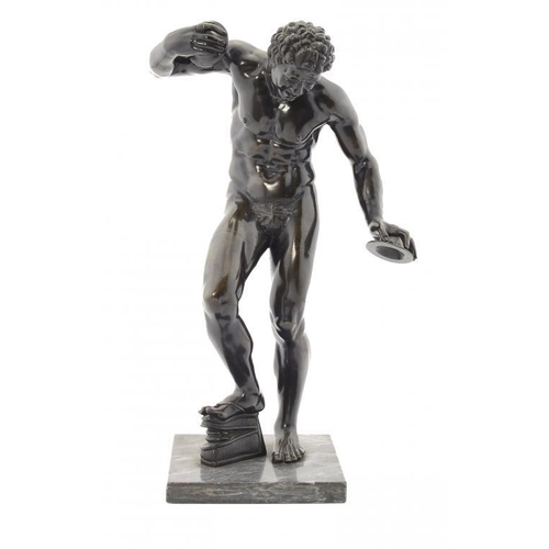 959 - <p>AN ITALIAN SCULPTURE OF THE DANCING FAUN AFTER THE ANTIQUE, LATE 19TH C  rich dark patina rubbed ...