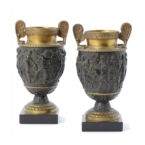 967 - <p>A PAIR OF FRENCH PARCEL GILT BRONZE MOUNTED REDUCTIONS OF THE TOWNLEY VASE, LATE 19TH C slate pli...