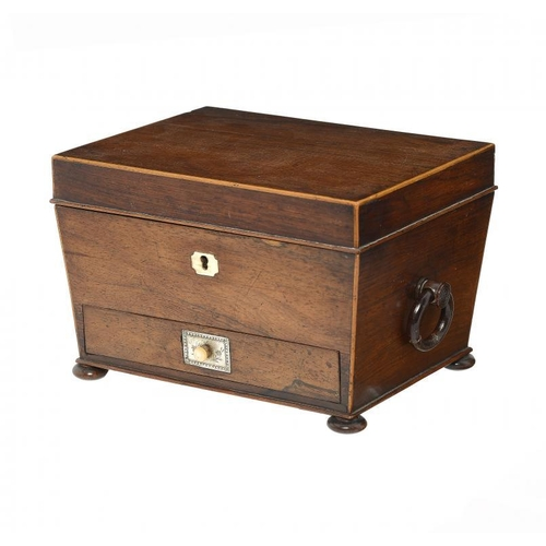 968 - <p>AN ENGLISH ROSEWOOD AND LINE INLAID TEA CADDY, C1830  of adapted as a jewel box and fitted with a...