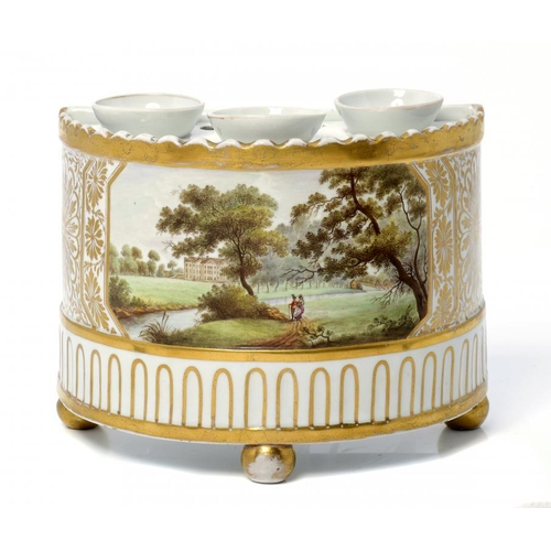 97 - <p>AN ENGLISH PORCELAIN BOUGH POT, C1800 painted with a country house with a lady and gentleman in t...