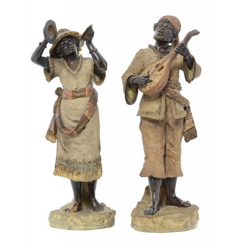 970 - <p>A PAIR OF AUSTRIAN COLD PAINTED TERRACOTTA FIGURES OF BLACK MUSICIANS, C1890 45 and 48cm h, impre...