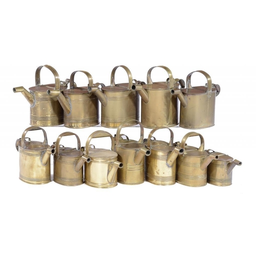 971 - <p>TWELVE VICTORIAN BRASS WATER CANS, LATE 19TH C  various sizes, the largest 27cm h, several with m...
