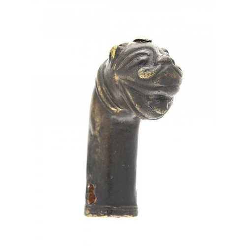 973 - <p>A MUGHAL BRONZE TIGER'S HEAD MOUNT, INDIA, POSSIBLY 17TH C  7cm h</p><p></p>...