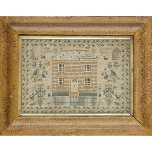 977 - <p>A LINEN SAMPLER, PHEBE JEBBETT WATCH AND PRAY, C1820 worked with aN  unusually large house and ra...