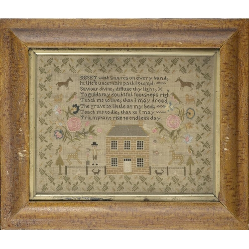 978 - <p>A LINEN SAMPLER, EARLY 19TH C  worked with house and figures,  25.5 x 33.5cm</p><p></p>...