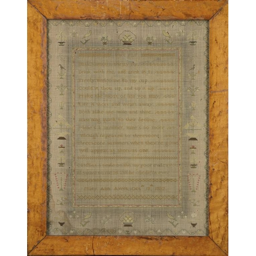 979 - <p>A LINEN SAMPLER,  MARY ANN AYERS OCTER 18TH 1832  worked with bordered verse, 40 x 30cm</p><p></p...