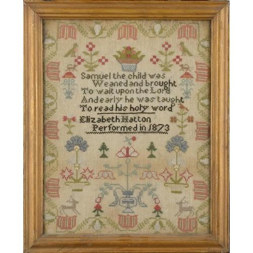 983 - <p>A WOOL SAMPLER ELIZABETH HATTON PERFORMED IN 1873  39 x 30.5cm</p><p></p>...