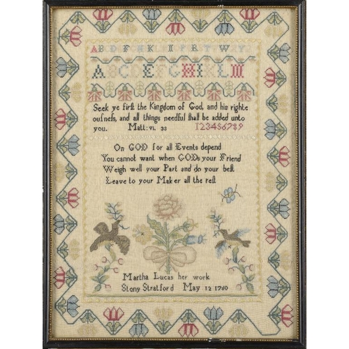 984 - <p>A LINEN SAMPLER MARTHA LUCAS HER WORK STONY STRATFORD MAY 12 1760 worked with doves, a butterfly ...