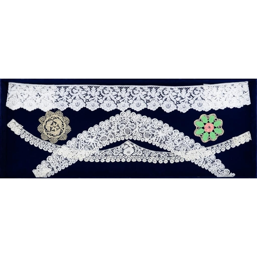 991 - <p>THREE PIECES OF BEDFORDSHIRE BOBBIN LACE six examples in 19th c Honiton lace and a Honiton lace o...