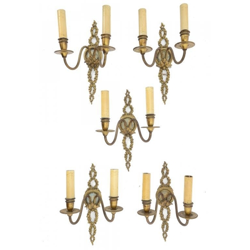 996 - <p>A SET OF FIVE GILTMETAL TWIN BRANCH WALL LIGHTS SET WITH WEDGWOOD BLUE JASPER MEDALLIONS, SECOND ...