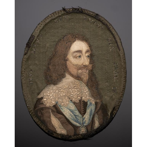924 - <p>A FINE ENGLISH EMBROIDERED MINIATURE OF CHARLES I, LONDON, C1660-70 silk and metal thread, based ...