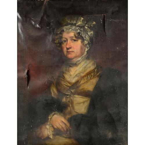 1 - <p>ENGLISH SCHOOL, 1820 PORTRAIT OF SAM HEGINBOTTOM; PORTRAIT OF SARAH, MRS SAM HEGINBOTTOM  a pair,...